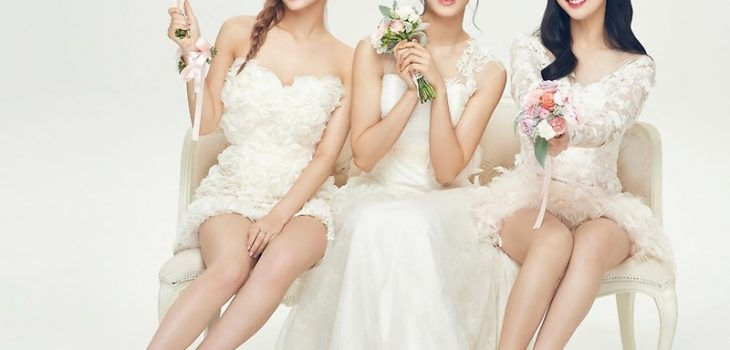 cute korean girls in white dresses